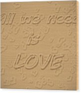 Love Quote Typography On Sand Wood Print
