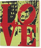 Love - Red On Lime Wood Print
