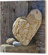 Love Rocks Wood Print