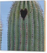 Love Shack Saguaro With A Heart Wood Print