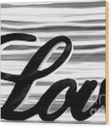Love Sign With Black And White Stripes Wood Print