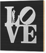 Love Typography And Kissing Couple Wood Print