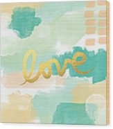 Love With Peach And Mint Wood Print