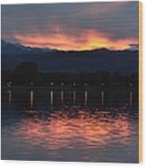 Loveland City Sunset Wood Print