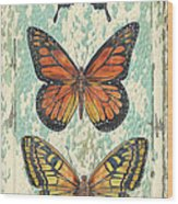 Lovely Butterfly Trio On Tin Tile Wood Print