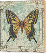 Lovely Yellow Butterfly On Tin Tile Wood Print