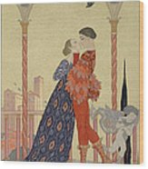Lovers On A Balcony  Wood Print