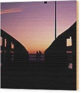 Lovers' Pier At Lake Ponchartrain Wood Print