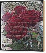 Lover's Roses Wood Print