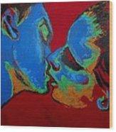 Lovers - Tender Kiss Wood Print