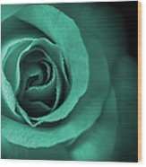 Love's Eternal Teal Green Rose Wood Print