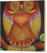 Loving Owl Wood Print by Lou Cicardo