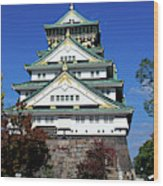Low Angle View Of The Osaka Castle Wood Print