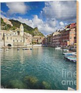 Low Angle View Of Vernazza  Harbor Wood Print by George Oze