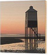 Low Lighthouse Sunset Wood Print