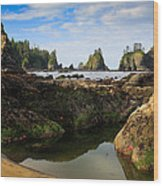 Low Tide At The Arches Wood Print