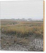 Low Tide Fog Wood Print