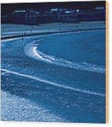 Low Tide In Blue Wood Print
