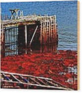 Low Tide - Red Seaweed - Fishing - Moratorium Wood Print