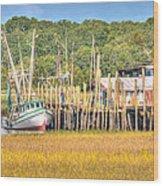 Low Tide - Shrimp Boat Wood Print