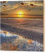 Low Tide Sunrise On Jekyll Island Wood Print