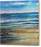Low Tide Wells Beach Maine Wood Print by Scott Nelson
