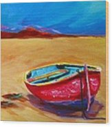 Low Tides - Landscape Of A Red Boat On The Beach Wood Print by Patricia Awapara
