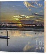 Lowcountry Marina Sunset Wood Print