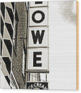 Lowe Drug Store Sign Bw Wood Print by Andee Design