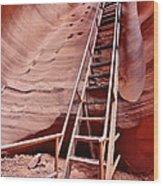 Lower Antelope Canyon Ladder Wood Print