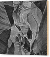 Lower Antelope Glow Black And White Wood Print