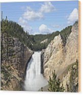 Lower Falls In Yellowstone National Park Wood Print