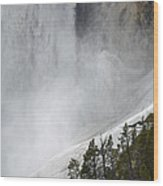 Lower Falls Of The Yellowstone Close-up In Spring Wood Print