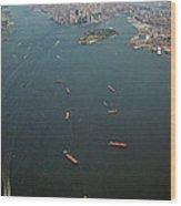 Lower Manhattan And New York Bay Wood Print