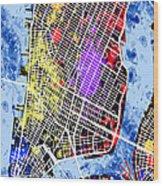 Lower Manhattan Map Wood Print