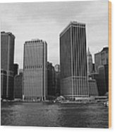 Lower Manhattan Shoreline And Skyline And Financial District Waterfront New York City Wood Print