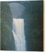 Lower Multnomah Falls Through The Mist Wood Print