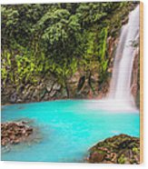 Lower Rio Celeste Waterfall Wood Print by Andres Leon