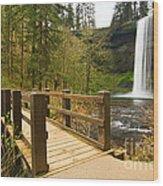 Lower South Waterfall With Footbridge In Oregon Columbia River Gorge. Wood Print
