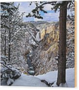 Lower Yellowstone Falls In October Wood Print