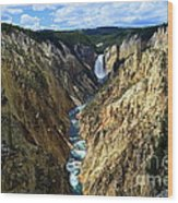 Lower Yellowstone Falls Panorama 2 Wood Print
