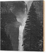 Lower Yosemite Falls Bw Wood Print