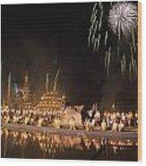 Loy Krathong Show In Thailand Wood Print