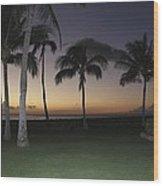 Luau Night Sunset Wood Print