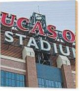 Lucas Oil Stadium Sign Wood Print by James Drake