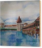 Lucerne Bridge Wood Print