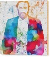Luciano Pavarotti Paint Splatter Wood Print