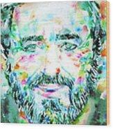Luciano Pavarotti - Watercolor Portrait Wood Print