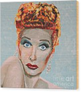 Lucille Ball Portrait Wood Print
