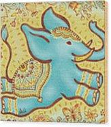 Lucky Elephant Turquoise Wood Print